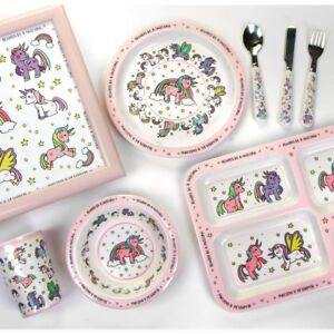 NEW UNICORN LITTLE STARS KIDS LAP TRAY PLATE BOWL SECTIONED FOOD SERVING TRAY