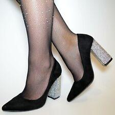 Damen Schuhe Pumps High Heels schwarz Glitzer Silber Abendschuhe Elegant Party