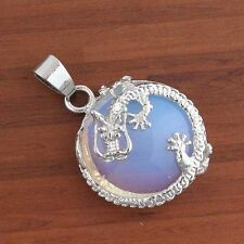 Silver Plated Natural Opalite Opal crystal Jewelry Dragon Half Ball Pendant