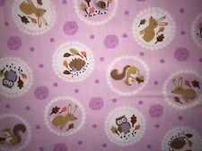 25cm Baumwolle Patchwork Eule Owl Igel Hase Eichhörnchen Schnecke Auf Rosa Kreis
