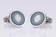 Cartier cufflinks for men Luxury fashion jewlery Silver blue