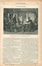 Retour de la Pêche en Bretagne par Edouard Girardet GRAVURE ANTIQUE PRINT 1876