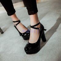 Women's Korean Chic Buckle Chunky Heel Shoes Sweet Solid Platform Hard-Wearing