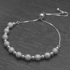 Genuine 925 Sterling Silver Adjustable Frosted Ball Bead Slider Bracelet Chain