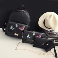 4pcs Women Pu Leather Backpack Rucksack Travel School Bag Shoulder Handbag Purse