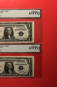 1935D-2 SILVER CERTIFICATE $1 NOTES,GRADED BY LEGACY CHOICE NEW 63 EPQ.