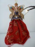 Gisela Graham Regal Resin Fabric & Jewel Angel Christmas Decoration 12cm