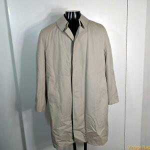 MISTY HARBOR Vtg Long RAINCOAT Rain Coat Mens Size 38S 38 Short khaki w/ liner
