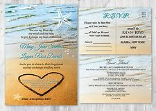 Beach Sand Heart Wedding Invitations with RSVP and Accommodation Cards Set of 50