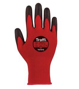TraffiGlove TG1010 Classic Cut A/1 Red Gloves Size 6,7,8,9,10,11 (Pack of 10)