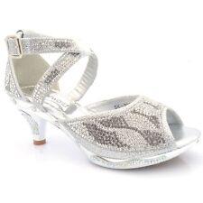 Girls Children Party Wedding Sandals Diamante Detail Low HEELS Shoes S295 UK 13 / EU 32 Kids Gold