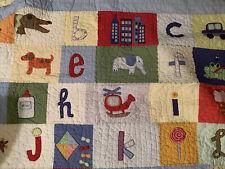Pottery Barn Kids Alphabet Animals Toys Cotton  ABC Quilt Twin Size