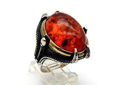 Men's 925 Sterling Orange Bubble Agate Ring Size 11.5 US
