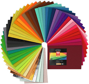 """Arteza 50 Assorted Stiff Felt Fabric Sheets, 8.3""""x11.8"""" Squares, 1.5mm Thick for"""