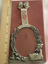 "Fine Pewter Frame Floral Ribbon Goose Bow Goslings Canada NOS  Oval 3"" x 2.25"""