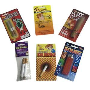 PRANK KIT SMOKERS Gag Joke Funny fake cigarette plus cigar and burn and loads