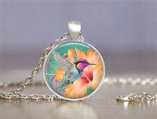 Vintage New Bird Cabochon Tibetan silver Glass Chain Pendant Necklace 69#
