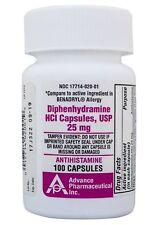 Diphenhydramine 25 mg Generic Benadryl Allergy Antihistamine 100 Capsules