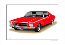 HOLDEN HQ GTS MONARO COUPE LIMITED EDITION CAR DRAWING  PRINT ( 9 CAR COLOURS)