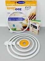 Keepeez Universal Airtight Vacuum Seal Lids Clear NOB Set of 5 BPA-Free Plastic