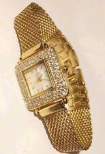Anne Klein II Watch Gold Tone Diamonds Square Case Swiss 1j White Dial 10/3878