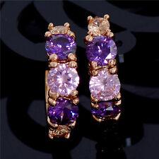 Elegant 18K Gold Plated PURPLE PINK CHAMPAGNE Crystal Hoop Earrings Jewelry UK