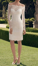 Lace Long Sleeves Wedding Dress Short Bridal Gown Size 8 10 12 14 16 Custom Made