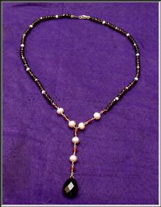 Gorgeous Zoe B 14k Gold Smoky Topaz Pearl & Garnet Lavaliere Necklace