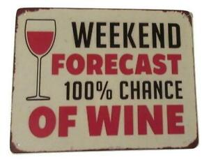 Whimsical - WEEKEND FORECAST 100% CHANCE OF WINE-  Sign Home Wall Decor Gift