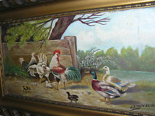 ANTIQUE OIL PAINTING WITH A FARM SCENE.