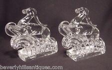 Rare Pair Steuben Glass Gazelle Book Ends Shape # 7399