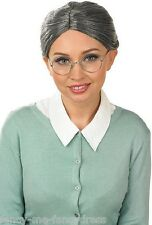 Ladies Granny Grandma Grey Old Lady Hen Do Fancy Dress Costume Outfit Wig