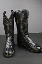 Men's Justin Black Caiman Leather Cowboy Boots Size 8.5 D Crocodile Exotic