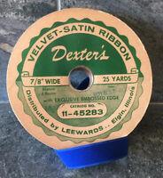 VINTAGE Dexter's Velvet-Satin Ribbon Roll ROYAL BLUE Leewards Elgin Illinois