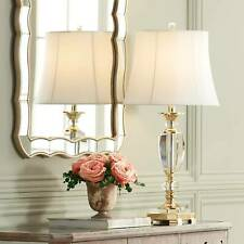 Traditional Table Lamp Faceted Crystal and Brass for Living Room Bedroom