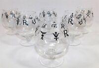 Pharmacy Alchemy Rx Symbol Brandy Glasses Black MCM Set of 6 Vintage