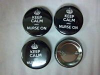 "1.5"" KEEP CALM and NURSE ON   4-pk Novelty Buttons/Pins: For backpacks, Jackets"