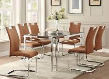 Contemporary Glass Metal Dining Table & Brown Chairs Dining Room Furniture Sale