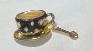 CUTE ENAMEL BLACK & WHITE  COFFEE CUP W, SPOON GREAT GIFT FOR  BARISTA SERVER