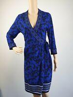 Jacqui E Blue Faux Wrap Office Career Dress / Size M - 12 /14