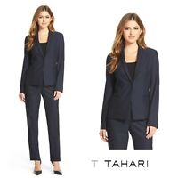 NEW T Tahari Women's Navy One Button Tailored Roe Blazer Jacket Size 6