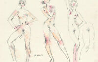 Peter Collins ARCA - Signed 1983 Crayon and Graphite, Study of Three Nudes