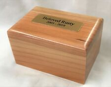 Small Wood Pet Cremation Urn with Brass Plaque