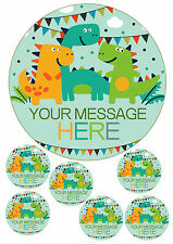 "Personalised Dinosaur 7.5"" Round AND TOPPERS Edible Icing Cake Topper BIRTHDAY"