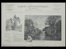 ALBUM AUTOGRAPHIQUE 1867  DAUBIGNY DAUMIER CHATROUSSE GRANDSIRE BALFOURIER NEMOZ