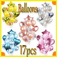 17pcs Rose Gold Birthday Decorations Confetti Latex Balloons Wedding Hen Party