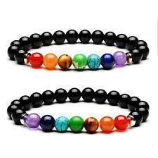 7 Chakra Healing Balance Beaded Bracelet Natural Stone Yoga Reiki Prayer Black