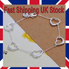 Ladies 925 Silver Heart Bracelet Chain Link 7.5 Inch Girls Love Free Gift Bag