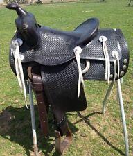"""Used/vintage/antique 14.5"""" Ozark Western hard seat black parade/pleasure saddle"""