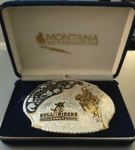 MONTANA SILVERSMITHS MEN'S SILVER PLATED COWBOY UP BULL RIDERS ONLY BELT BUCKLE